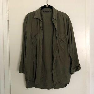 Zara Olive Button Up Shirt!